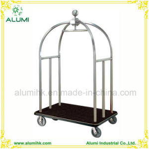 Hotel Stainless Steel Luggage Cart with Black Carpet pictures & photos