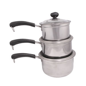 High Quality 3PCS Set Stainless Steel Sauce Pot pictures & photos
