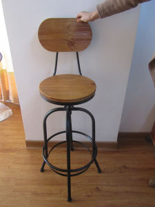 Swivel Wooden Bar Stool Chair with Backrest