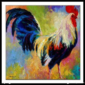 Kitchenware Tempered Glass Coaster with Rooster Pattern pictures & photos