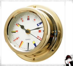 12 Hours Format Quartz Clock Signal Flag Dial 150mm Brass Case pictures & photos