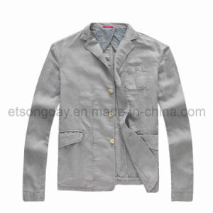 Gray Linen Cotton Twill Men′s Casual Blazer with Tailored (GDJ-45) pictures & photos
