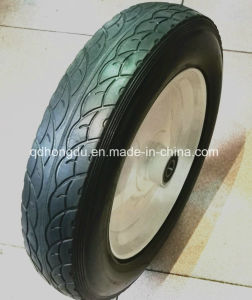 Wide Tread Star Shape Steel Rim Rubber Solid Wheel pictures & photos
