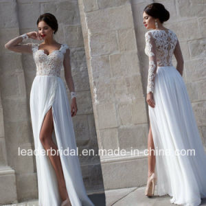 Illision Bodice Split Bridal Gown Vestidos Lace Chiffon Beach Wedding Dress L15344 pictures & photos