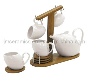 Porcelain Coffee and Tea Set with Bamboo Tray and Metal Handle