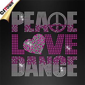 Wholesale Bling Peace Love Dance Custom Tshirt Iron on Transfer (DAN-054)
