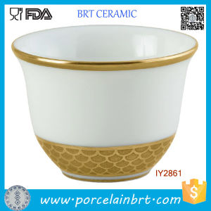 White and Golden Ceramic Coffee Cup Orientale Cafe Tasse pictures & photos