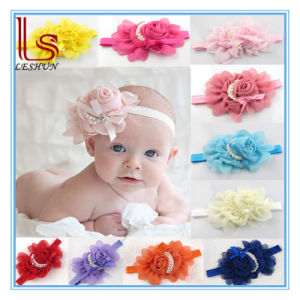 Hot Style Baby Elastic Rose Pearl Flower 13 Color Headband pictures & photos