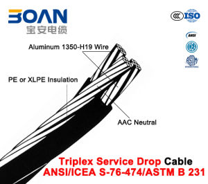 Triplex Service Drop Cable with AAC Neutral, Twisted 600 V Triplex (ANSI/ICEA S-76-474) pictures & photos