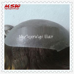 Injection Hair Clear Thin Poly Base Men′s Hairpiece pictures & photos