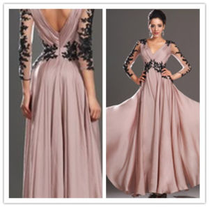 2014new Design V-Neck V-Back or Zipper Back Floor Length with Black Lace Vintage Mother of The Bride Dresses (MQ1016)