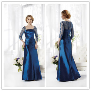 A Line Square Floor Length Tiered Taffeta Mother of The Bride Dress