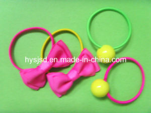 Wholesale Elastic Rubber Hair Band with Butterfly and Plastic Ball pictures & photos