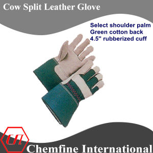 "Select Shoulder Split Palm, Green Cotton Back, 4.5"" Rubberized Cuff Leather Work Gloves pictures & photos"