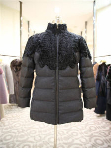 Women′s Fashion Slim Fit Down Jacket with Stand Fur Collar pictures & photos