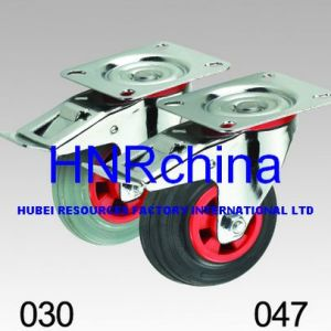 Black and Grey Rubber Wheel Industrial Caster pictures & photos