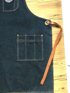 High Quality Denim Leather Cooking Apron for Women pictures & photos