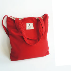 100% Cotton Red Shopping Tote Bag with Long Handle pictures & photos