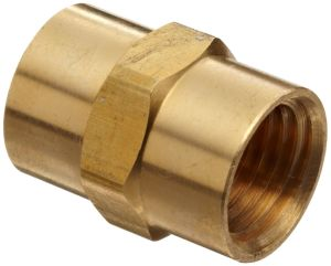"""Brass Pipe Fitting, Coupling, 1/4"""" X 1/4"""" Female Pipe"""