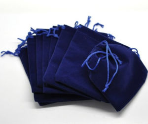 Dark Blue Canvas Drawstring Jewelry Bag Gift Bag pictures & photos