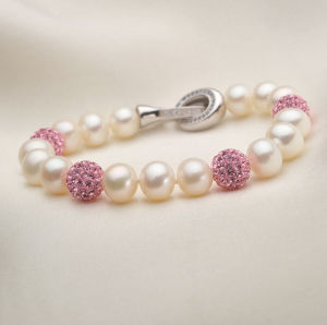 7-8mm Natural Freshwater Cultured Pearls with Crystals Bracelet Jewelry (E150030) pictures & photos