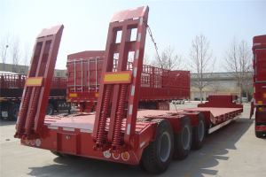 3 Axles Low Deck Semi Trailer for Construction Transport pictures & photos