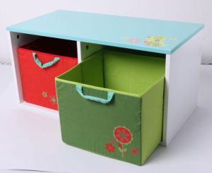 Factory Supply Wooden Toy Storage Wooden Container with Fabric Drawer Kids Furniture pictures & photos