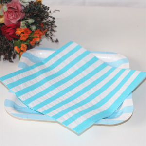 Blue Striped Paper Napkin Wedding Decoration pictures & photos