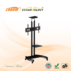 High Quality Steel Tube Height Adjustable Stand Trolley Has Tempered Glass (CT-FTVS-T104B) pictures & photos