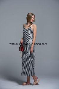 Sling Ladies Long Dress Summer Fashion 100% Cotton Stripe Loose Girl pictures & photos