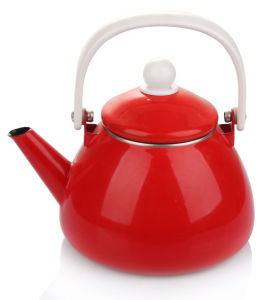 Red Enamel 1.5L Teapot with Bakelite Handle pictures & photos
