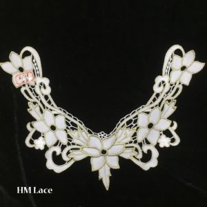 34*25cm Pink Elegant Neckline Lace with with 5 Flowers Lace Collar Trimming Hme928 pictures & photos