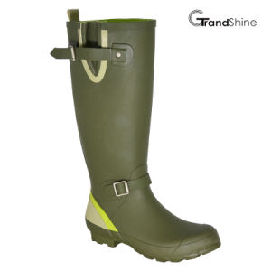 Wellington Rubber Rainboots with Adjustable Vamp Closure pictures & photos