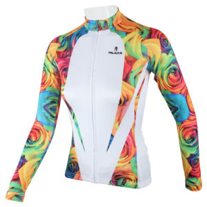 Women Rose Flowers Printing Long Sleeves Bicycle Jersey Xs-Xxxl pictures & photos