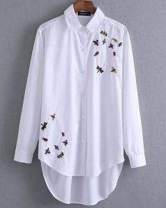 White Women`S Embroidered Shirt