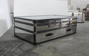 Wood Strip with Black Leather Stainless Steel Coffee Table, Villa Furniture Tea Table pictures & photos
