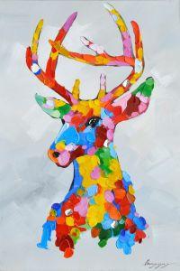 Pop Art Elk Colourful Moose Oil Painting pictures & photos