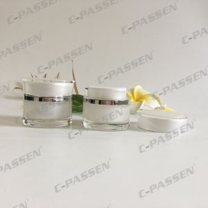 30g Pearl White Wasp-Waisted Acrylic Cream Jar for Cosmetic Packaging (PPC-ACJ-110) pictures & photos