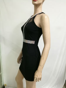 2017 Wholesale Designer One Party Dress Women Sexy Black Halter Mesh Lady Summer Dress pictures & photos