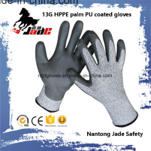 13G PU Coated Cut Resistant Industrial Work Gloves Level Grade 3 and 5 pictures & photos