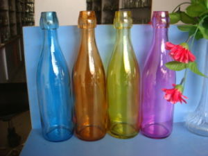 1L Decal Glass Bottles Water Bottle with Bail Wire pictures & photos