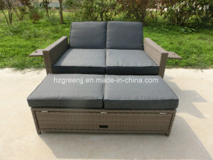 2 Pieces Gas Recliner Sofa with Stool Wicker Set pictures & photos