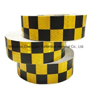 Fluorescent and Black Checkered Adhesive Reflective Safety Warning Tape (C3500-G) pictures & photos