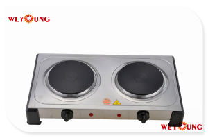 Double Electric Hotplate 2000W. Stainless Steel