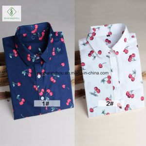 2017 European Long Sleeve Cherry Printed Shirt Cotton Ladies Blouse pictures & photos