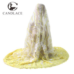 Yellow Color African French Net Lace Fabric pictures & photos