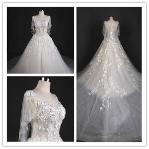 Real Picture Newest Customize Beaads Flower Long Train Bridal Gown Wedding Dress (T10619)