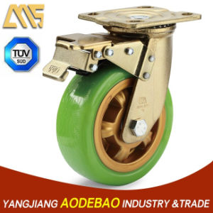 Heavy Duty Double Brake PU Caster Wheel pictures & photos