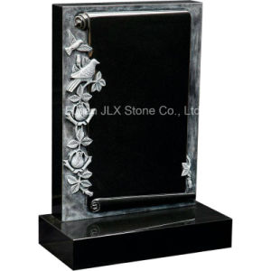 China Black Granite Antique Scroll Book Gravestones with Roses pictures & photos