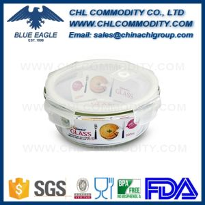 Durable Cylinder Clear Glass Food Storage Box with Plastic Lid pictures & photos